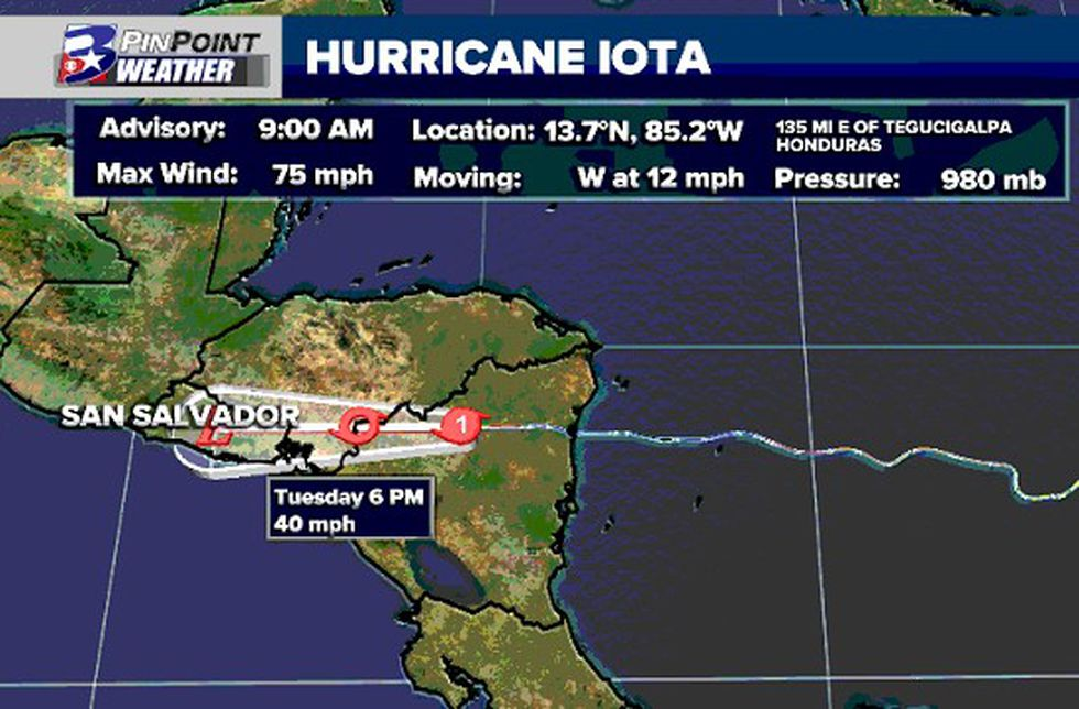 Hurricane Iota has been downgraded to a Category 1 hurricane with the Tuesday morning update.