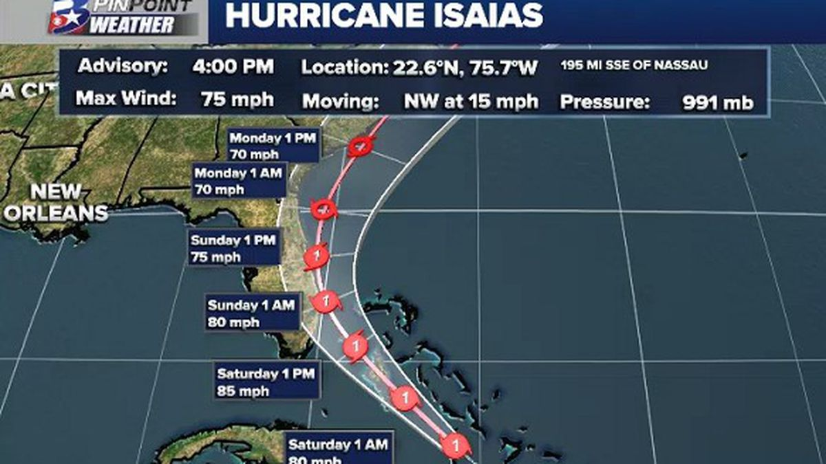 Friday afternoon update on the forecast track for Hurricane Isaias