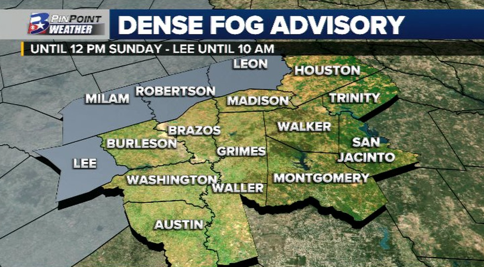 A DENSE FOG ADVISORY is in effect for Milam, Robertson, Leon and Lee counties.