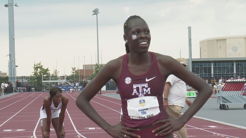 Texas A&M's Athing Mu after winning the 400m at the SEC Outdoor Track & Field Championships.