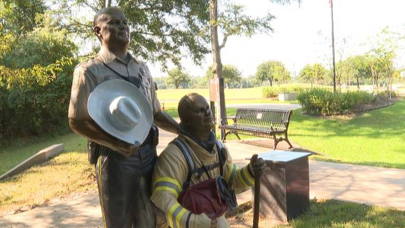 Statues representing fallen first responders on 9/11 added to the memorial in Veterans Park.