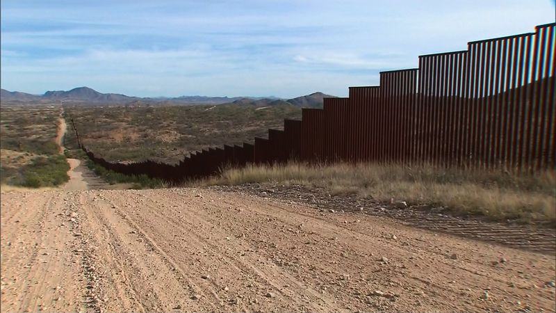 The wall along the southern border of the United States where it meets Mexico.