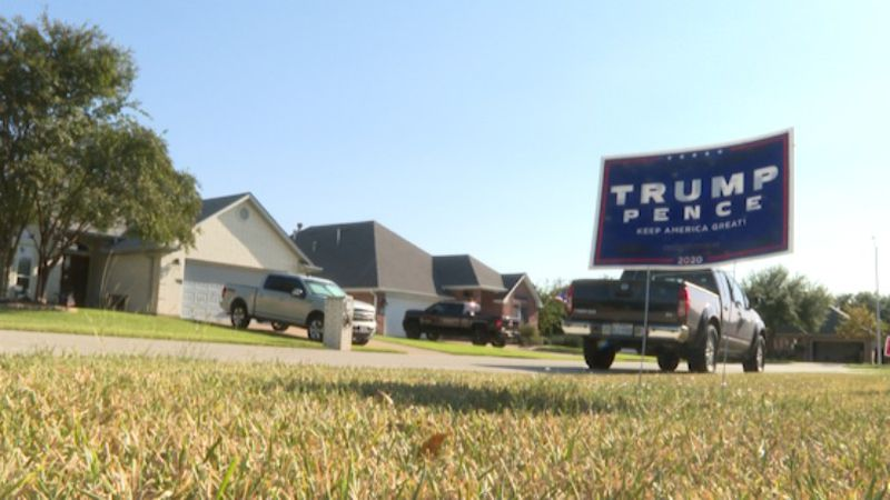 Residents concerned about political signs and flags being stolen around their neighborhood in...