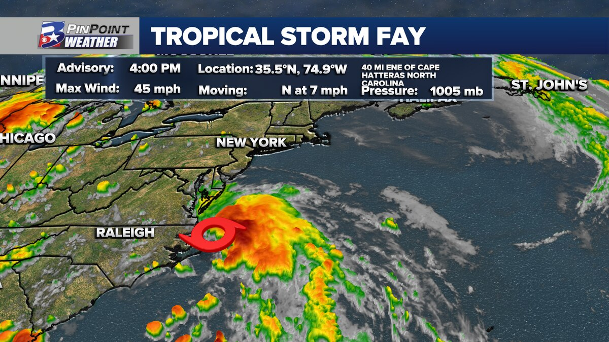 Thursday 4 PM update from the National Hurricane Center shows Tropical Storm Fay has developed off the North Carolina coast.