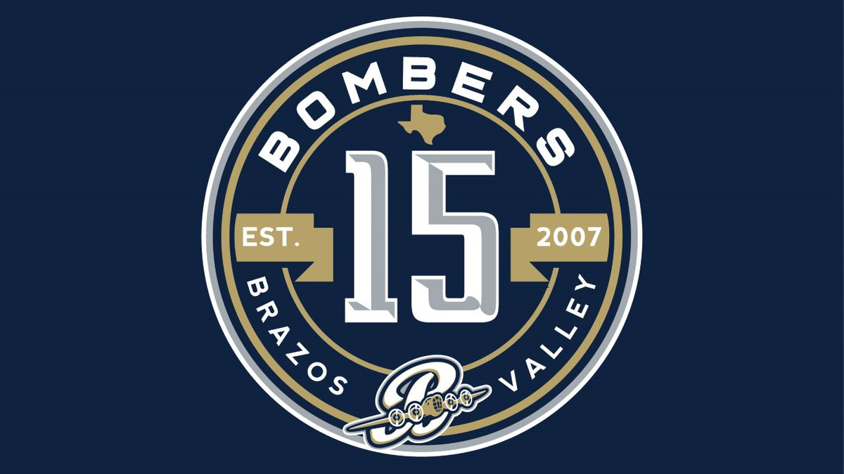 Brazos Valley Bombers 15th year anniversary logo