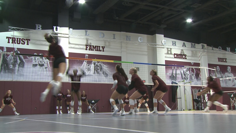The Aggies begin volleyball practice at Reed Arena.