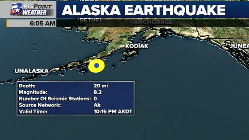 The magnitude 8.2 quake shook portions of the Alaska coast late Wednesday night.