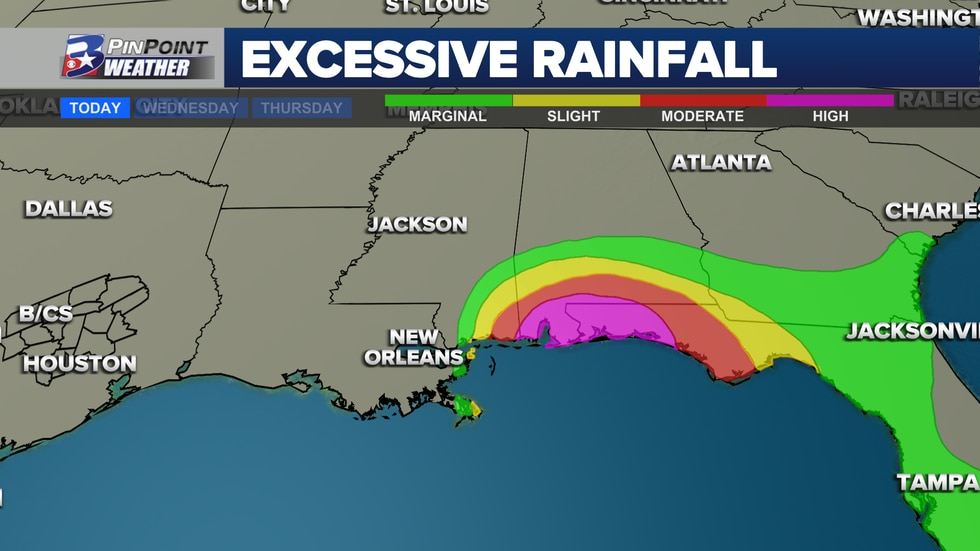 Excessive Rainfall Outlooks show the probability that flash flooding thresholds will be met due to heavy rainfall.