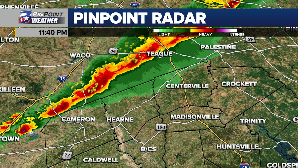 Line of strong storms seen moving into the Brazos Valley close to midnight Wednesday.