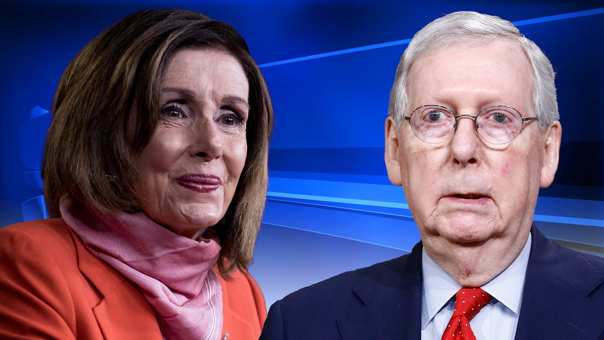 """House Speaker Nancy Pelosi (D) and Senate Majority Leader Mitch McConnell (R) are saying """"no thanks"""" to COVID-19 rapid tests from the Trump administration. (Source: Gray DC/AP)"""