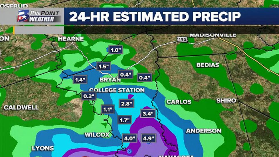 Radar-estimated rainfall over Brazos County from Friday into early Saturday. Some areas easily saw over 3 inches, with radar estimates nearing 5 in southern Brazos County