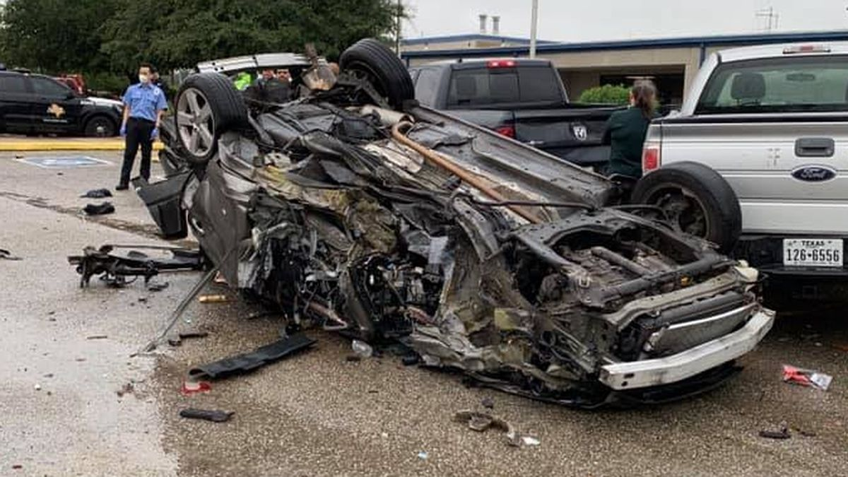 A vehicle rolled over Tuesday afternoon in the parking lot of the Madison County Sheriff's Office in Madisonville.