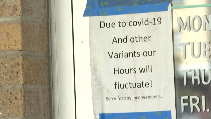 A sign taped to the front door of Casa Rodriguez in Downtown Bryan.