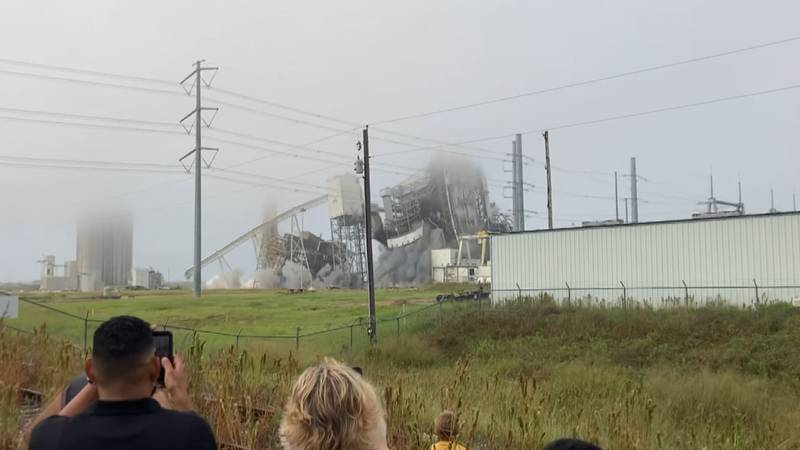 The power plant site was imploded Friday morning.