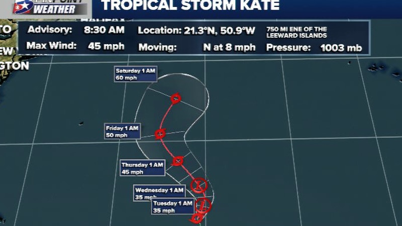 The NHC has found enough organization to designate TD10 as Tropical Storm Kate early Monday