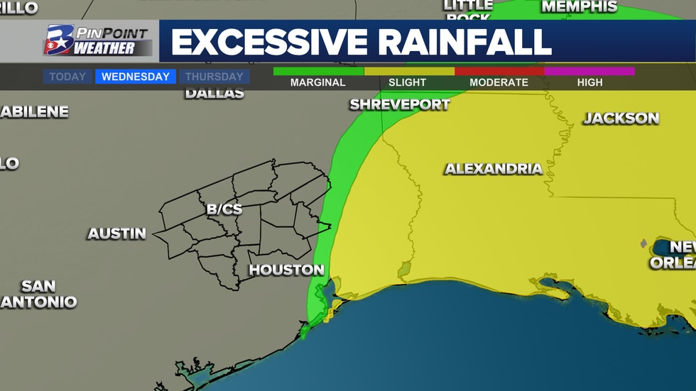 Beta's heavy rainfall shifts the threat for flash flooding east of the Brazos Valley Wednesday.