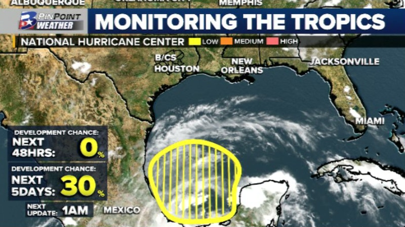 The Friday evening update from the National Hurricane Center has upped the chance for tropical...