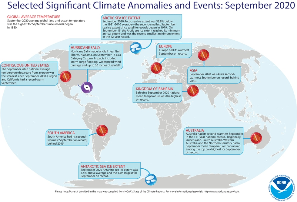 A map of the world plotted with some of the most significant weather and climate events that occurred during September 2020. For more details, see the bullets below in this story and more from the NCEI report at http://bit.ly/Global092020