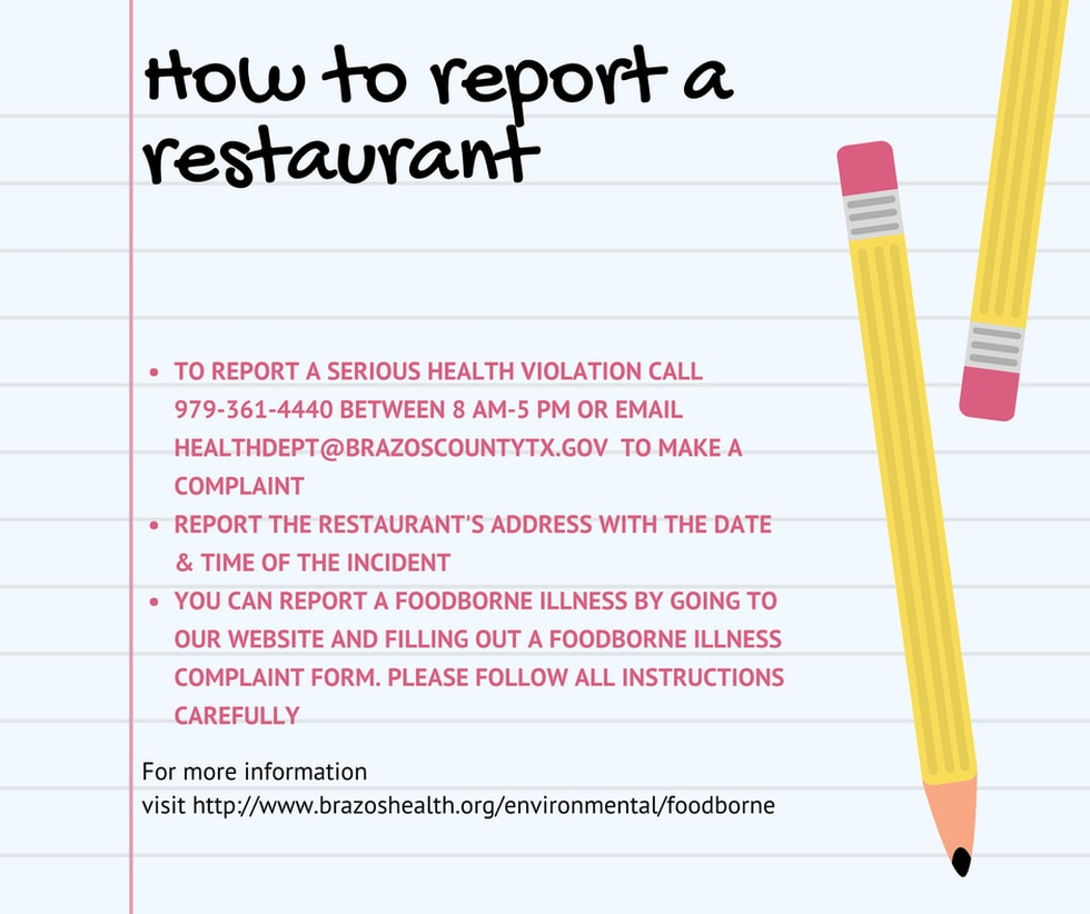 How to report a restaurant to the Brazos County Health District