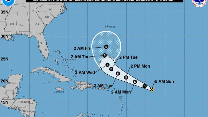 A tropical depression strengthened into Tropical Storm Peter early Sunday over the Atlantic...