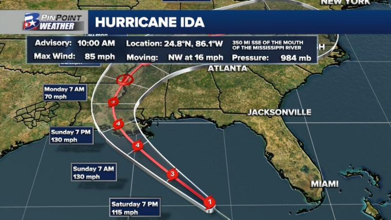 Hurricane Ida is forecast to strengthen from a Category 1 to Major Category 3 Hurricane Saturday