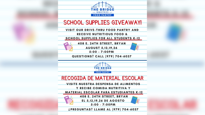 Every Thursday in August The Bridge Ministries Food Pantry is giving out free school supplies