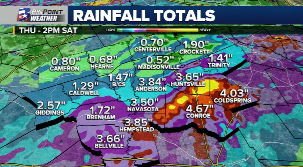 Rainfall totals as of 2pm Saturday across the Brazos Valley