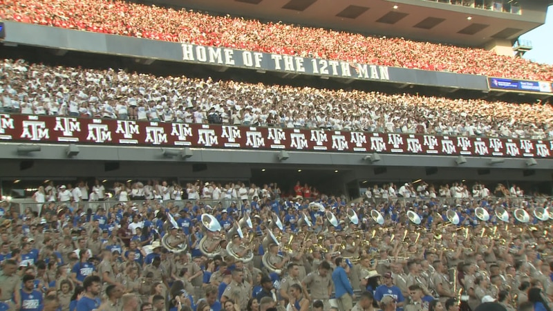 Aggie fans wore Red, White, and Blue in Texas A&M's 20th anniversary of 9/11 commemorative game...
