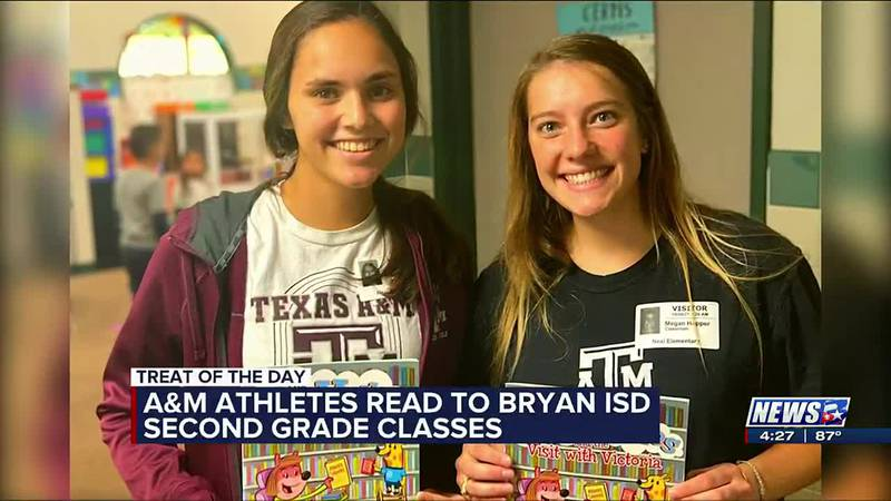 Treat of the Day: A&M athletes read to Bryan ISD second graders