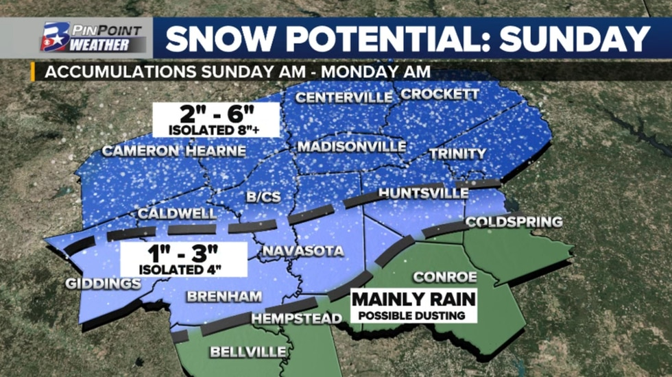 Forecast snowfall for the Brazos Valley January 10th - January 11th