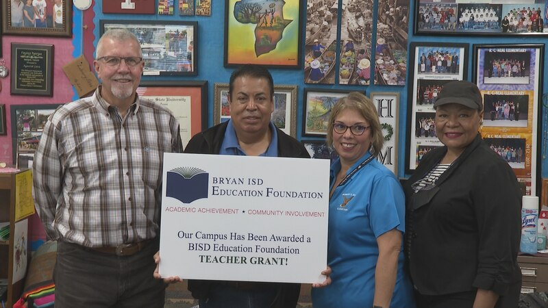 The Bryan ISD Education Foundation awarding at $1,500 grant to Mr. Agustin Lara. Mr. Lara is a...