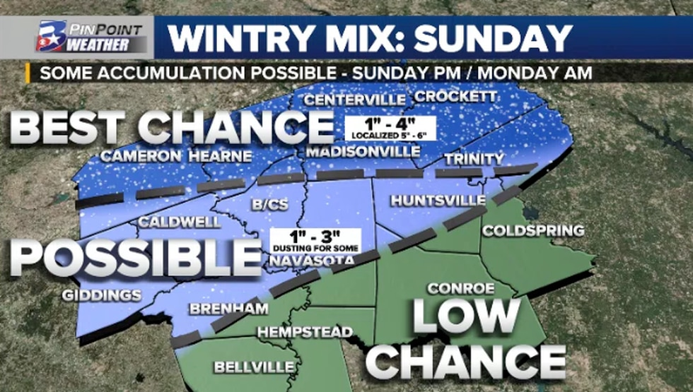 The latest look at what we could see fall across the area by Sunday into Sunday evening. We...