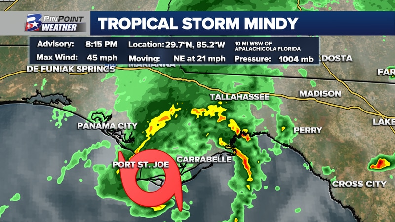 Tropical Storm Mindy made landfall on the coast of the Florida Panhandle at 8:15pm Wednesday.