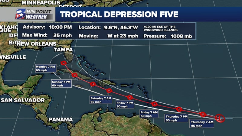 Tropical Depression Five has officially formed in the Atlantic, expected to strengthen into...