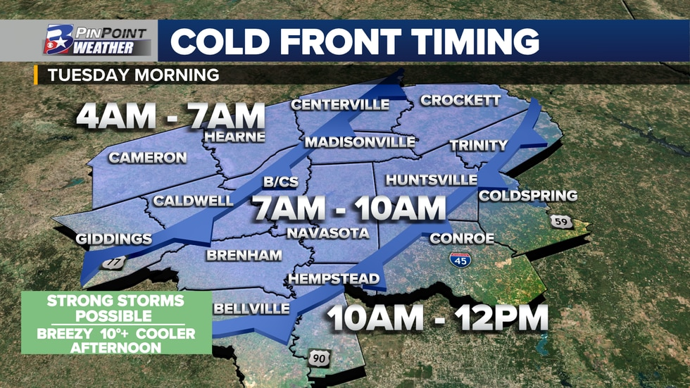A cold front is expected to move across the Brazos Valley between 4am and noon Tuesday.