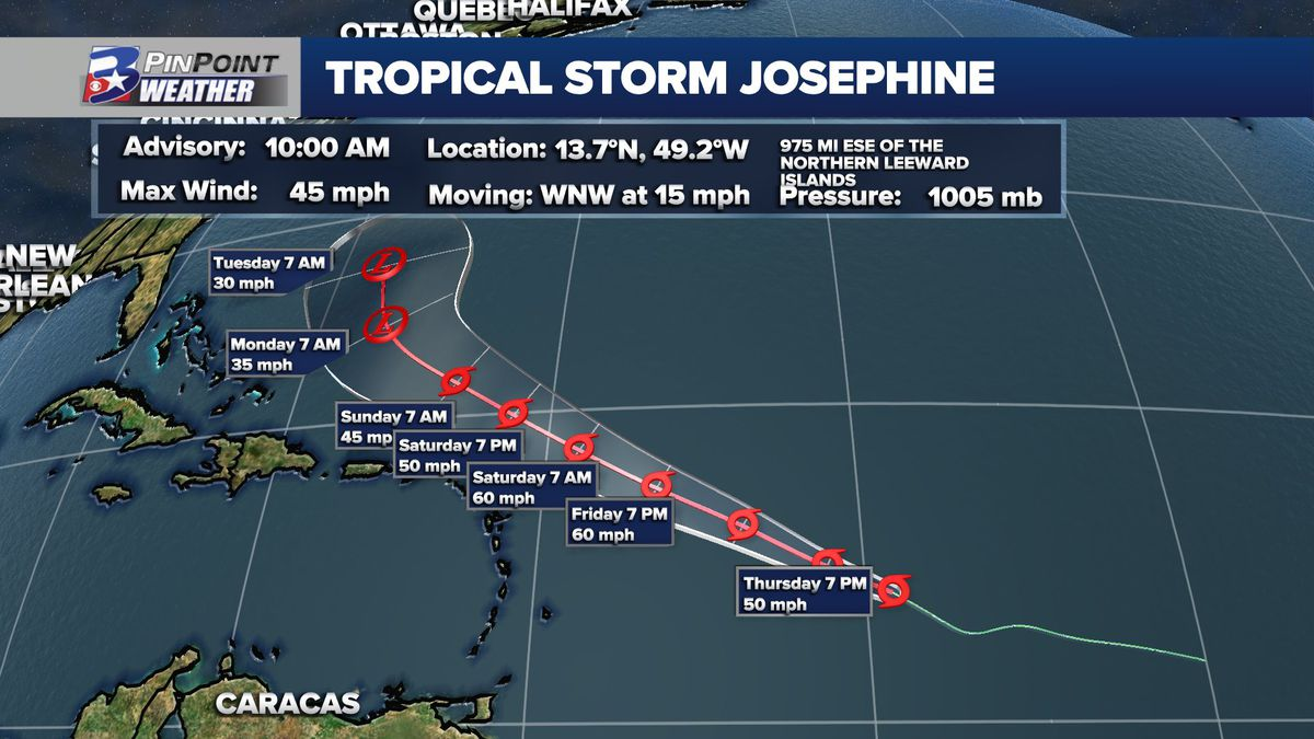 Tropical Storm Josephine formed early Thursday.