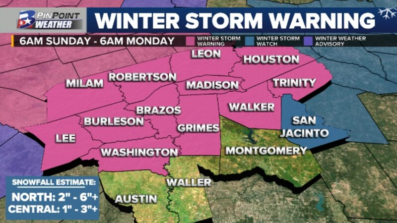 Winter Storm Warning is in effect for a majority of the Brazos Valley Sunday, January 10th