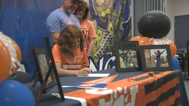 Bryan pole-vaulter Mckenna Webb signed her letter of intent with Sam Houston Track & Field.