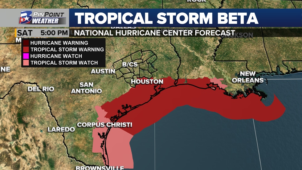 Tropical Storm Warnings are in effect for portions of Southeast Texas as of 4pm Saturday 9/19.