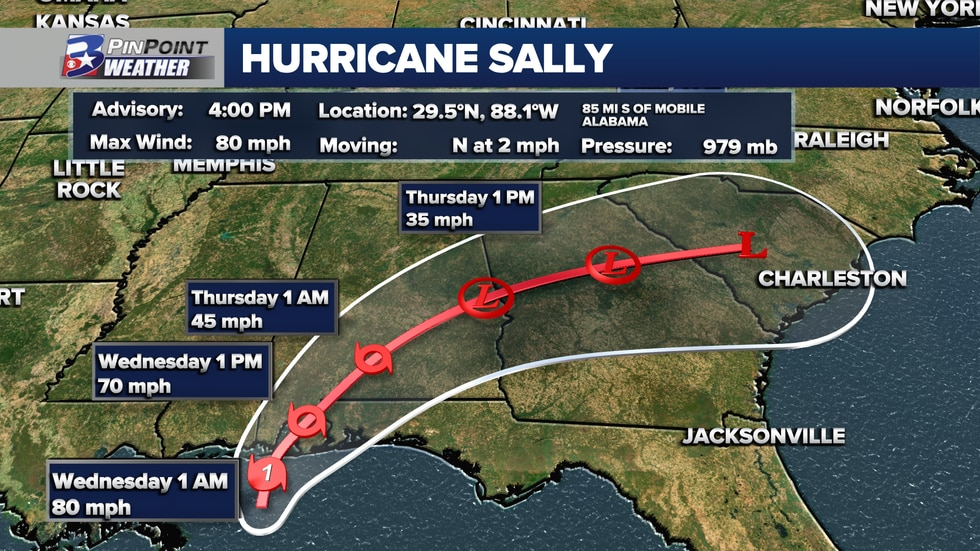 Sally is expected to make landfall Wednesday morning as a Category 1 hurricane.