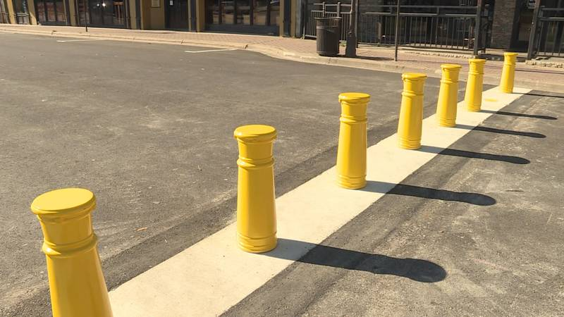 One of the bollards still hasn't been returned after it was taken over the weekend.