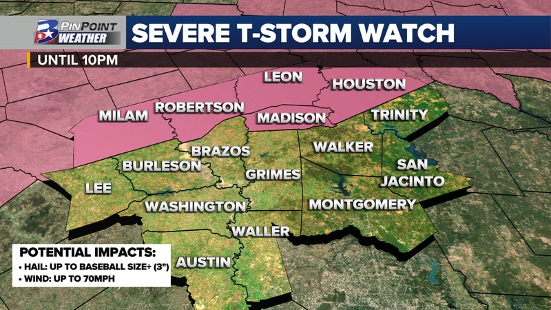A Severe Thunderstorm Watch is in effect until 10pm for the counties shaded in pink. Hail up to...