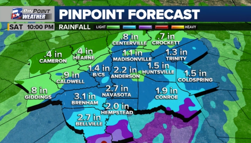 """Another 0.5"""" to 2"""" of widespread rain remains possible for the Brazos Valley, with localized..."""