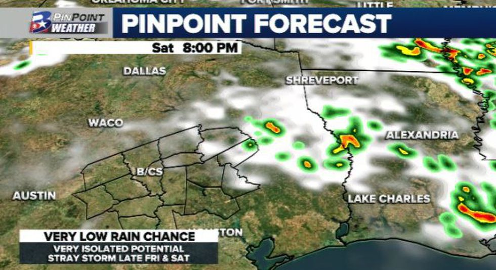 Hot and hazy weather is expected for the weekend, with only a small chance for showers and storms, especially Sunday.