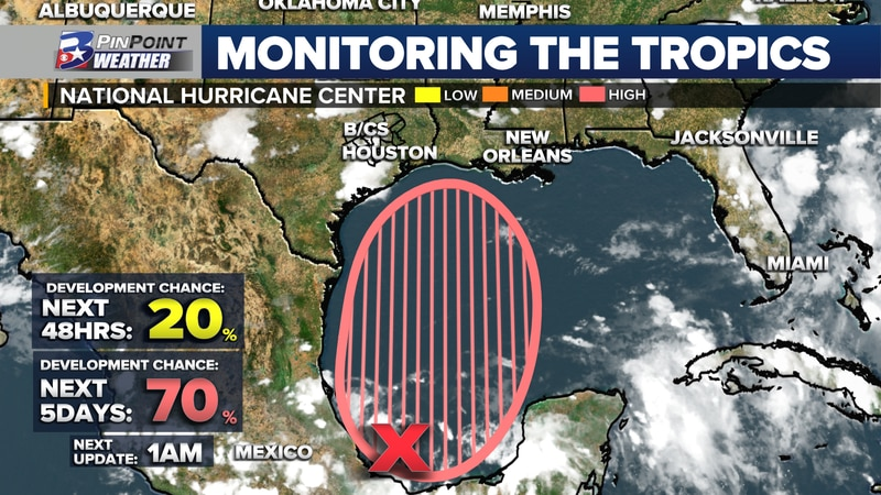 The National Hurricane Center puts a high chance for tropical development over the Gulf of...