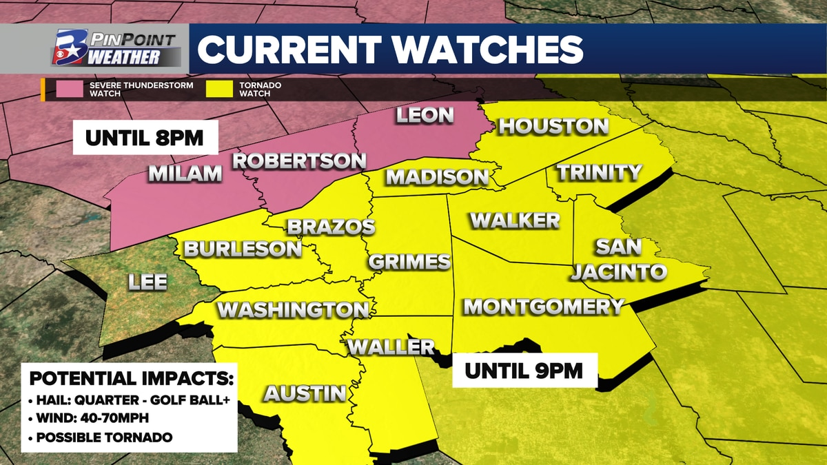 Tornado and Severe Thunderstorm Watches continue for the Brazos Valley through sunset Friday