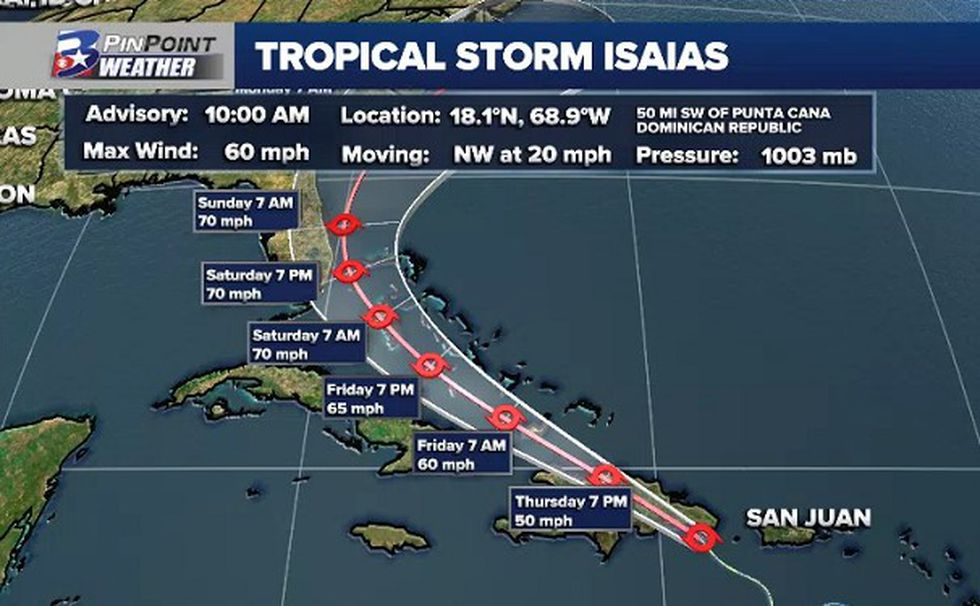 Forecast update from the National Hurricane Center on Tropical Storm Isaias