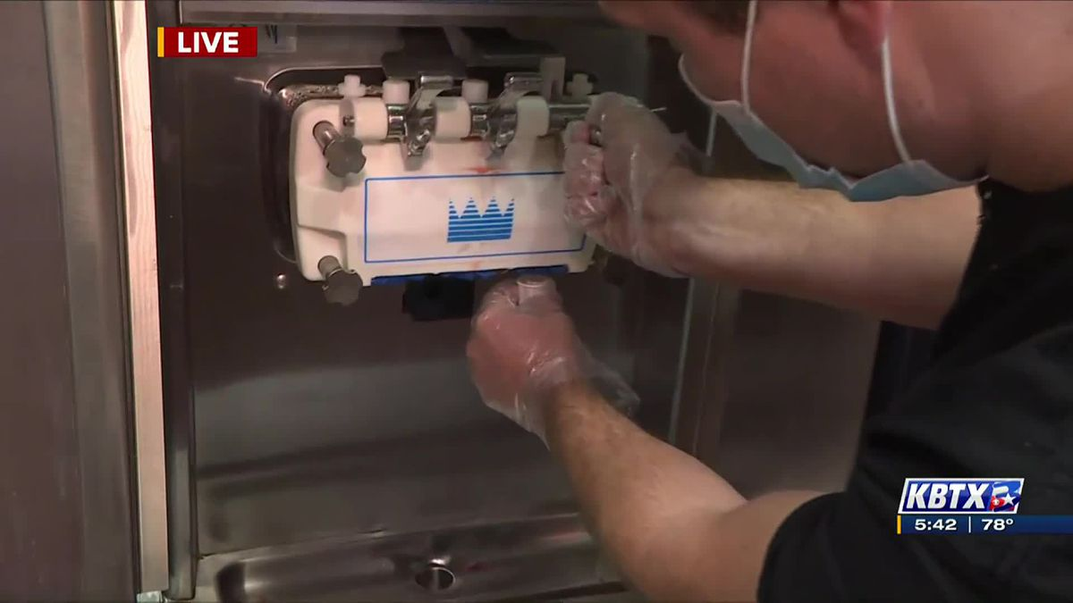 Tasting frozen yogurt samples at Farmhouse Frozen Yogurt in College Station