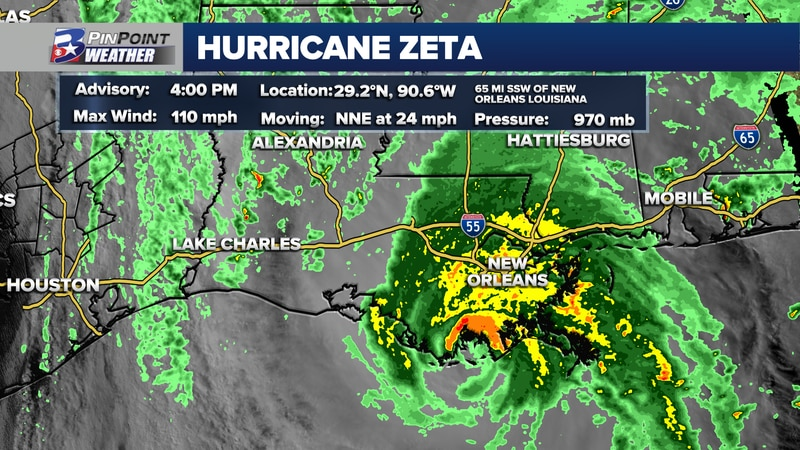 Zeta makes landfall as a strong Category 2 hurricane Wednesday afternoon