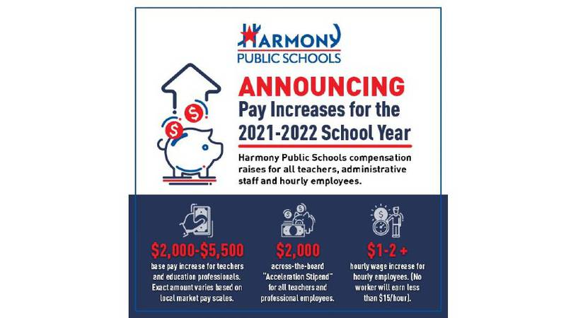 Educators at Harmony Science Academy in Bryan will also receive raises.